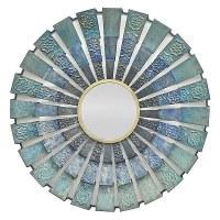 """32"""" Round Blue Metal Mirror"""