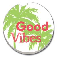 "3"" Round Good Vibes Palms Car Coaster"