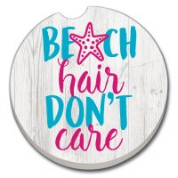 "3"" Round Beach Hair Don't Care Car Coaster"