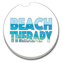"3"" Round Beach Therapy Car Coaster"