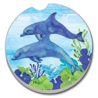 "3"" Round Blue Dolphin Duo Car Coaster"