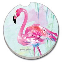 "3"" Round Flamingo Flair Car Coaster"