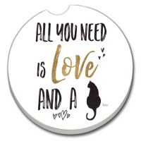 "3"" Round Love and a Cat Car Coaster"