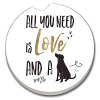 "3"" Round Love and a Dog Car Coaster"