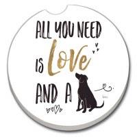 "3"" Round Love and a Dog Car Coaster"