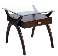"""28"""" Dark Cherry Wood Glass Top End Table"""