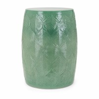 "18"" Round Green Ceramic Garden Stool"