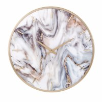 """20"""" Round Gold and Marble Wall Clock"""