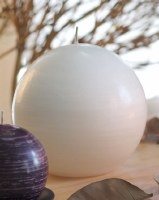 """6"""" Round Unscented White Jupiter Ball Candle"""