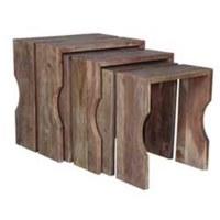Set of Three Brown Wood Slot Nesting Tables