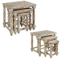 Set of Three Gray and Brown Mango Wood Nesting Tables