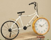 """18"""" Rustic Yellow and White Metal Bicycle Clock"""
