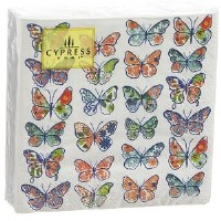 """5"""" Square Butterfly Collage Paper Beverage Napkins"""