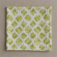 """20"""" Square Green Cotton Geo Napkin"""
