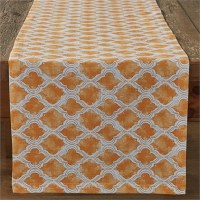 """72"""" x 15"""" Square Apricot Cotton Geo Table Runner"""