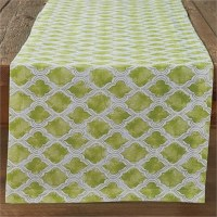 """72"""" x 15"""" Square Green Cotton Geo Table Runner"""