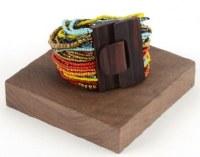 Multicolor Beaded Gypsy Wood Buckle Bracelet