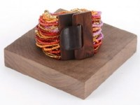 Pink and Orange Beaded Wood Buckle Bracelet