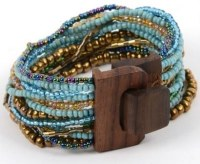 Turquoise and Gold Beaded Wood Buckle Bracelet