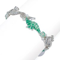 Silver Tone and Green Seahorse Bracelet with Faux Crystals