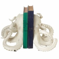 """7"""" Distressed White Finish Resin Octopus Bookends"""
