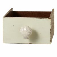 """1.75"""" Distressed White Finish Shell Pull"""