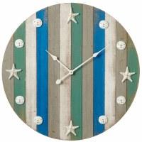 """29"""" Round Multicolored Stripe Shell Wall Clock"""
