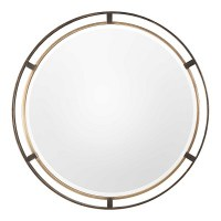 """36"""" Round Distressed Bronze and Gold Metal Finish Frame Mirror"""