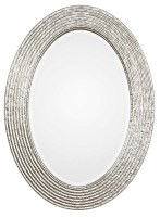 """34"""" Silver Oval Ribbed Frame Mirror"""