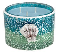 12 oz. Blue and Green Sea Glass Mosaic Bamboo Lotus Scented Candle with Three Wicks