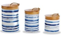 """9"""" Set of 3 Blue and White Stripe Ceramic Canisters With Wood Lid"""