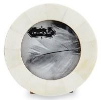"2.5"" Round White Bone Picture Frame"