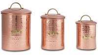 """10"""" Set of 3 Hammered Copper Metal Canisters"""