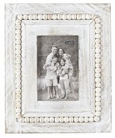 "4"" x 6"" Rectangle Whitewash Beaded Rim Picture Frame"