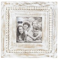 "5"" Square Whitewash Beaded Rim Picture Frame"
