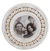 "3"" Round Whitewash Beaded Rim Picture Frame"