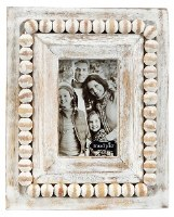 "2"" x 3"" Rectangle Whitewash Beaded Rim Picture Frame"