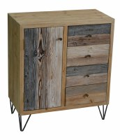 """32"""" Multicolored Plank Cabinet with One Door, Three Drawers, and Metal Legs"""