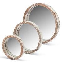 """20"""" Round Whitewash Wood Rim Mirror"""