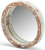 """12"""" Round Whitewash Wood Rim Mirror"""
