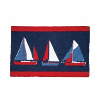 1 ft. 10 in. x 2 ft. 10 in. Red, White, and Blue Sailboats Rug