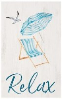 "17"" x 11"" Whitewash Relax Sling Chair Wall Plaque"