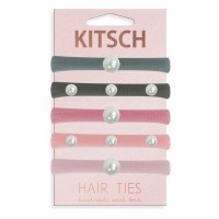 Set of Five Pearl Pink and Gray Hair Ties