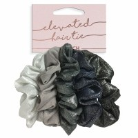 Set of Five Black and Silver Scrunchies
