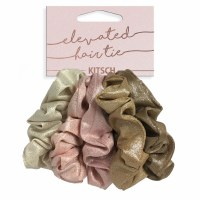 Set of Five Pink and Brown Scrunchies