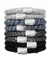 Set of Eight Black and Silver Perfect Ponytail Hair Ties