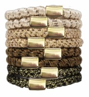 Set of Eight Gold and Brown Perfect Ponytail Hair Ties