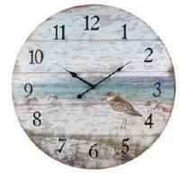 "23"" Round Wood Shore Sandpiper Wall Clock"