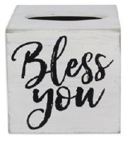 "6"" Square White Bless You Tissue Box Cover"