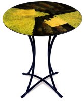 """20"""" Round Gold and Black Abstract Pattern Glass Table"""